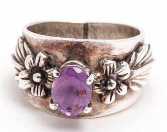 Carol Felley Sterling Silver Carved Floral Design Oval Cut Amethyst Ring