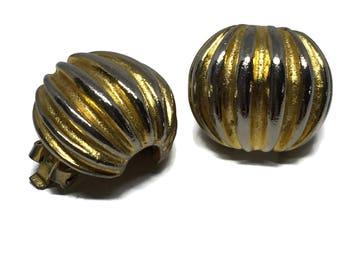 Clip On Earrings Kenneth J Lane 1960's Gold Earrings, Ball Earrings, Mid Century Earrings, Kenneth Lane Jewelry, Vintage Earrings