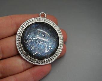 glittery gray cabochon charm pendant 4cm (S50) round
