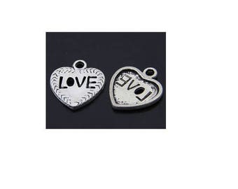 SET of 5 heart charms love silver tone (C06)