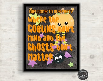 Halloween Graphic Decor Picture, Welcome To Our Party Typography Print, Haunted House, Affordable Decorating,  Home Decor