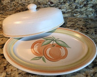 "Franciscan Fruit ""Large Fruit"" Butter Dish and Cover"