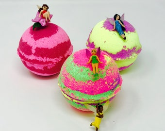 Sale! Disney Fairy Inspired 1 or 3 7.0 oz Bath Bomb Sets with Surprise Toy Inside. All Natural and Homemade with Texas Size Love.