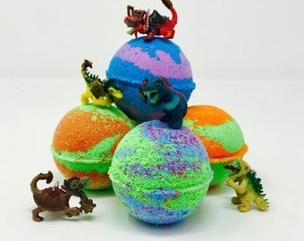 Sale! 2 or 4 7 oz Inspired Dinosaur Bath Bomb Birthday Party / Easter Egg Favors Gift Set with Glow in the Dark Dinosaur Toy Surprise Inside