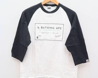 Vintage A BATHING APE Generals Ape Shall Never Kill Ape White Tee T Shirt Size L