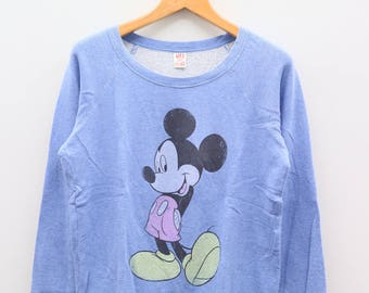 Vintage MICKEY MOUSE Disney Cartoon Animation Blue Sweater Sweatshirt Size L