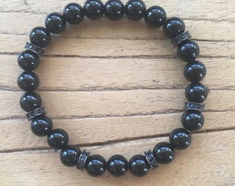 8MM Black Onyx Bracelet with Crystal Pave Spacers