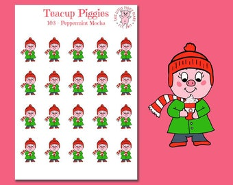 Teacup Piggies - Peppermint Mocha Oinkers - Mini Planner Stickers - Peppermint Mocha Stickers - Coffee Addict - Winter Beverage - [103]