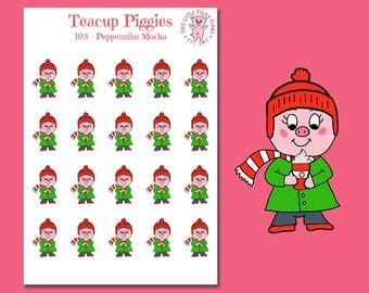 Teacup Piggies - Peppermint Mocha Oinkers - Mini Planner Stickers - Peppermint Mocha Stickers - Coffee Addict - Winter Beverage - [103]