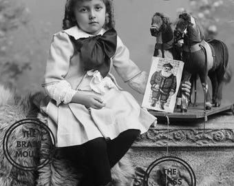 SANDERSON Victorian Child Photograph - Instant Vintage Photo Digital Download - 1890s Antique Baby Black White Image - Scrapbook Collage