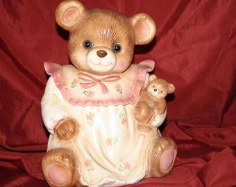 Vintage Bear Cookie Jar with Glass Eyes 1980's