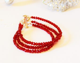 Red Bracelet Triple Strand