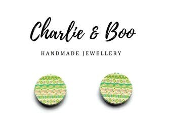 Green Patterned Stud Earrings