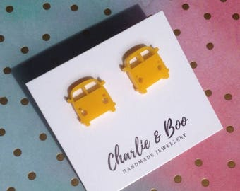 Yellow Acrylic - Combi Van Studs - Combi Van Earrings - Yellow Earrings - Acrylic Jewellery - Yellow Jewellery - Combi Studs