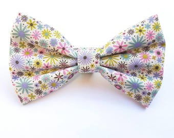 Spring flower print dog collar bow tie