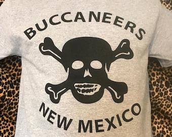 Men' 1950's Hot Rod Car Club Buccaneers New Mexico Sports Grey Black Screen Print T-Shirt Limited Edition Rockabilly Pirate Hep Cat Hoodlum