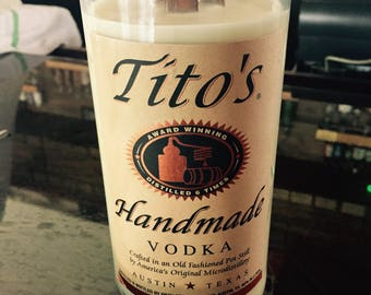 Handcrafted Soy Candle from a Repurposed Tito's Vodka Bottle