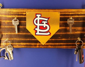 Rustic wall hanging keychain rack with St Louis Cardinals logo or Your Baseball team choice