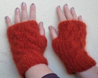Fingerless gloves orange mohair and silk