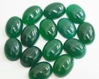 Natural lot of 10pcs Natural Green Onyx oval shape cabochon for women jewelry