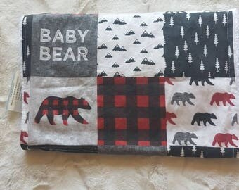 Baby bear patchwork cotton burp cloth