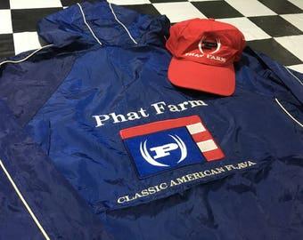 Buy 1 get 2 Vintage Phatfarm jacket hooded windbreaker & strapback cap big logo