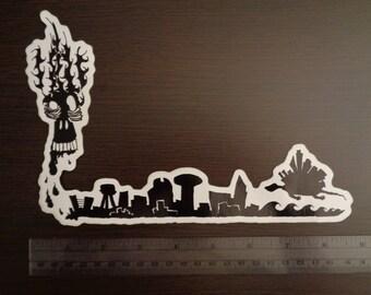 Skull Turtle City Rebirth Vinyl Sticker