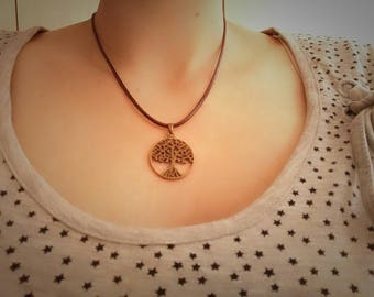 Necklace Leather Brown tree of life