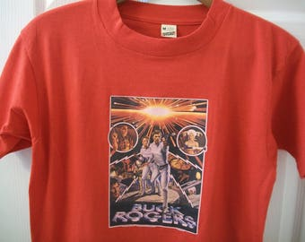 Vintage Buck Rogers T tee Shirt M TV Show Promo In The 25th Century Erin Gray Outer Space Twiki Robot Iron On Transfer Screen Stars 50 50