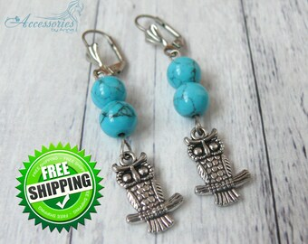 Owl Blue Turquoise earrings Natural Turquoise Crystal earrings Animal Silver charm earrings Christmas gift idea Owl Holiday Wish earrings