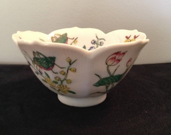 Lotus Blossom Shaped Hand painted Rice Bowl with Butterflies and Beetle Vintage Hong Kong