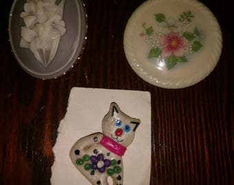 Choice of Vintage Pins/Brooches: Cat & Flowers