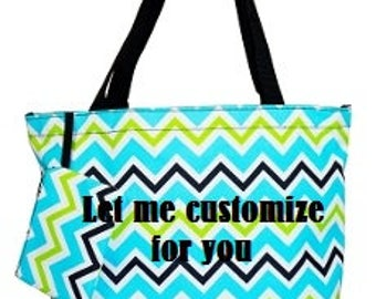 Personalized Tote Bag with Zipper