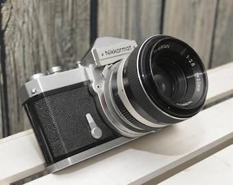 SALE!! Vintage Nikon Nikkormat FTN 35mm SLR film camera with original leather case - Free Shipping