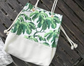 25% off Canvas tropical print fabric, Burlap Tote ,Shopping bag,Canvas Beach bag, Go-anywhere bag, bridesmaids gift