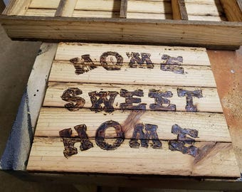 reclaimed barnwood signs  with burned letters