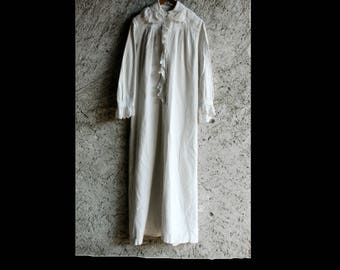 French Vintage Long Cotton, Nightgown, Chemise, Nightdress
