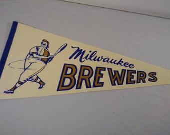 Vintage MLB Milwaukee Brewers Pennant  Banner/ Flag