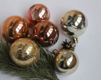 Set of 6 Soviet Christmas Tree Ornaments,Collectible USSR Glass Toys,Glass Christmas decorations,Christmas ornaments 27