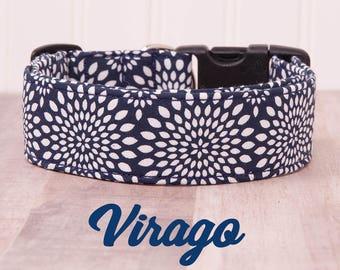"Navy and White Geometric Mandala Floral Dog Collar ""Virago"""