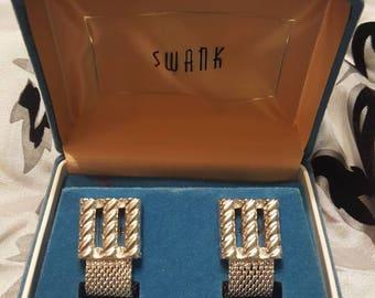 VINTAGE - Swank Wraparound Silver cuff links