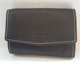 Wallet in Brown grained calf leather: for coins and folded bills, more storage card front