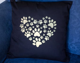 Dog Lover Cushion Cover | 45 x 45 | Paw Print Heart | Dog Lover Gift | Black Cushion | Paw Print Cushion |