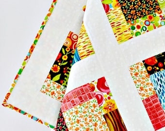 """Nursery Crib Quilt Girl, modern quilt baby girl, floral baby girl quilt, red, greenery, girl bedding quilt, """"Wild by Nature"""", 38"""" x 38"""""""