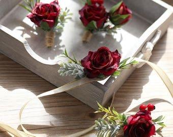 Rene Burgundy Red Rose Silk Flower Corsage & Boutonniere // Wedding / Prom / Flower Girl / Bridesmaids