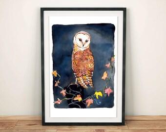 Barn Owl Wall Art, A4 or A3 Giclee Print, Fine Art Print, Room Decor, Wildlife Illustration, Bird Drawing, Mixed Media Birds, Birds Wall Art