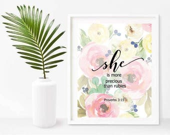 She Is More Precious Than Rubies, Proverbs 3 15, Bible Verse Nursery Decor, Bible Print, Printable Art, Instant Download, Wall Decor
