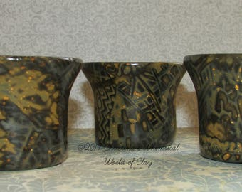 FREE SHIPPING!!!! Polymer Clay Mokume Gane Votive Candle Holders