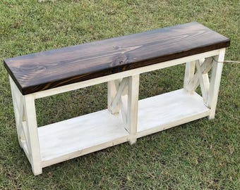 The Courtney Design / Entry Bench / Entryway Bench /   Mudroom Bench/ Rustic Country Modern Bench