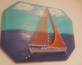 Orange Sailboat String Art